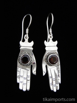 Sterling silver hand-shaped earrings featuring faceted natural stones