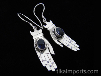 Sterling silver hand-shaped earrings featuring faceted amethyst stones