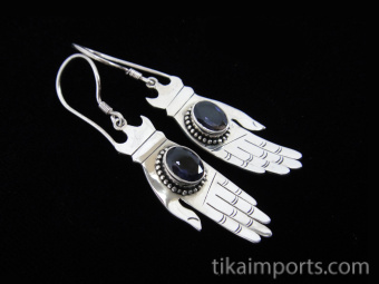 Sterling silver hand-shaped earrings featuring faceted iolite stones
