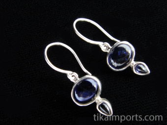 Sterling silver earrings featuring iolite stones