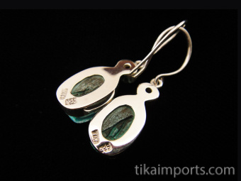 Sterling silver earrings featuring carved faience scarabs with natural stone accents