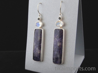 Sterling silver earrings featuring charoite with tourmaline and rainbow moonstone accent stones