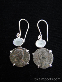 Sterling silver earrings featuring ancient Roman coins with aquamarine accent stones