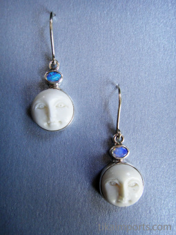 Sterling silver earrings featuring carved bone moon faces with a variety of accent stone options