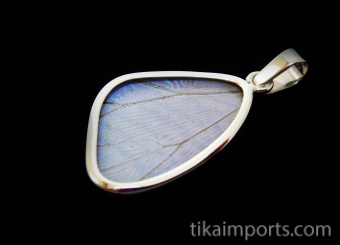 Small Pearl Blue (Morpho sulkowski) Shimmerwing pendant with butterfly set in sterling silver