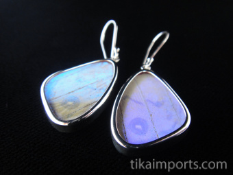 Small Pearl Blue (Morpho sulkowski) Shimmerwing earrings with butterfly set in sterling silver