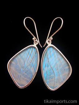 Medium Pearl Blue (Morpho sulkowski) Shimmerwing earrings with butterfly set in sterling silver