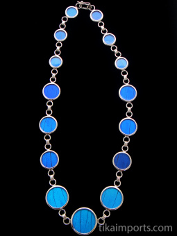 Blue Morpho (Morpho didius) round Butterfly wing link necklace set in sterling silver.