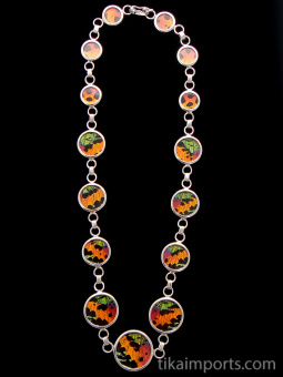 Sunset Moth (Urania rhipheus) Necklace. Butterfly wing link necklace set in sterling silver.