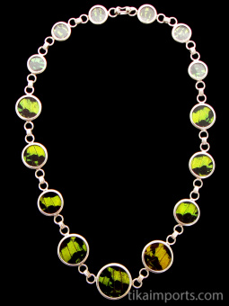 Green & Black (Urania leilus) Butterfly wing link necklace set in sterling silver.