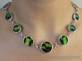 view of Green and Black Shimmerwing necklace on model