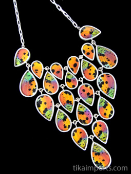 Sunset Moth (Urania rhipheus) Large Shimmerwing link necklace with adjustable sterling silver chain