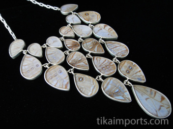 Pearl Blue Morpho (Morpho sulkowski) Large Shimmerwing link necklace with adjustable sterling silver chain