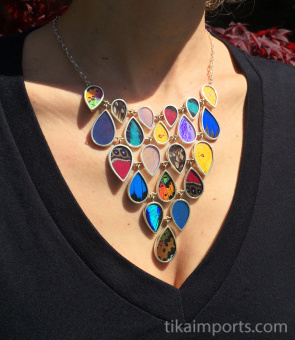Multicolored Large Shimmerwing link necklace with adjustable sterling silver chain