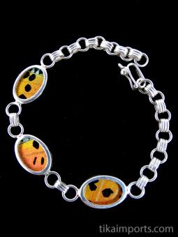 Rainbow Sunset (Urania rhipheus) Shimmerwing oval link bracelet set in sterling silver.
