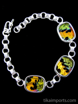 Rainbow Sunset (Urania rhipheus) Shimmerwing rectangle link bracelet set in sterling silver.