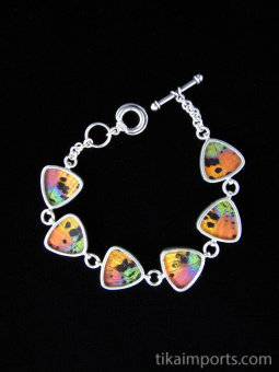 Rainbow Sunset (Urania rhipheus) triangle Shimmerwing bracelet with sterling silver adjustable toggle clasp
