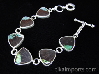 Rainbow Sunset (Urania rhipheus) triangle link Shimmerwing bracelet, set in sterling silver with adjustable toggle clasp