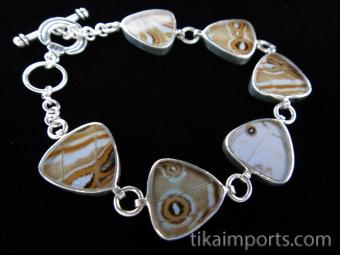 Pearl Blue Morpho (Morpho sulkowski) triangle Shimmerwing bracelet with sterling silver adjustable toggle clasp