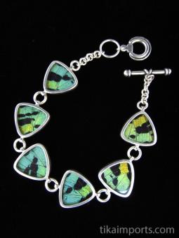 Aquamarine (Urania rhipheus) triangle Shimmerwing bracelet with sterling silver adjustable toggle clasp
