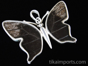 Small Blue & Black (Papilio ulysses) Shimmerwing Pendant set in sterling silver butterfly design - reverse