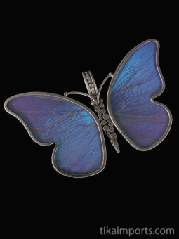 Large Blue Morpho (Morpho didius) Shimmerwing Pendant set in sterling silver butterfly design