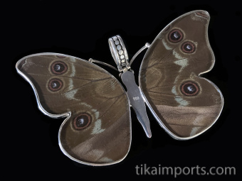 Large Blue Morpho (Morpho didius) Shimmerwing Pendant set in sterling silver butterfly design - reverse