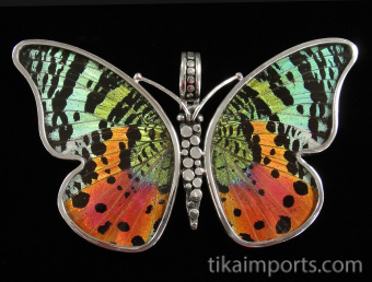 Large Rainbow Sunset (Urania rhipheus) Shimmerwing Pendant set in sterling silver butterfly design