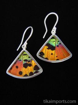 Rainbow Sunset (Urania rhipheus) Fan Shimmerwing Earrings