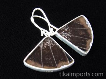 Blue & Black (Papilio ulysses) Fan Shimmerwing Earrings set in sterling silver - reverse