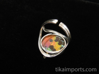 Reversible Blue/Sunset Round Shimmerwing Ring with adjustable band