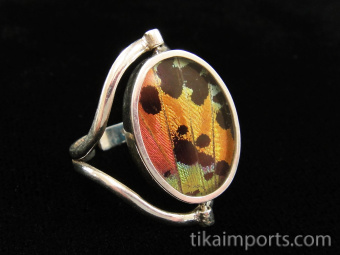 Reversible Blue & Black/Sunset Oval Shimmerwing Ring with adjustable band