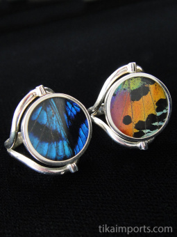 Reversible Blue Flash/Sunset Round Shimmerwing Ring with adjustable band