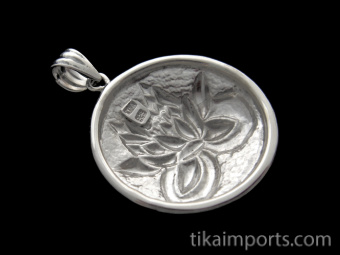 Pure sterling silver pendant featuring a lotus blossom