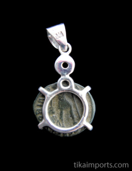 Ancient Roman coin set in sterling silver with peridot accent