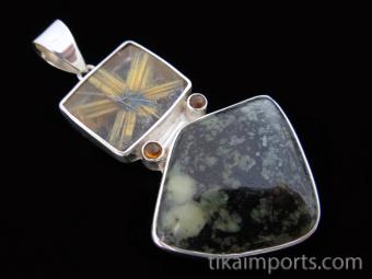 Sterling silver pendant featuring a unique combination of star rutile quartz, granite, and tourmaline accents