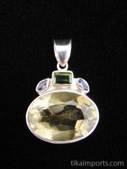 Sterling silver pendant featuring faceted lemon quartz with tourmaline and iolite accent stones