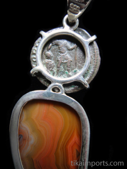Sterling silver pendant featuring an ancient Roman coin set above natural Sierra Madre agate