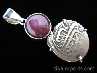 Sterling silver pendant featuring an ancient Afghani coin with Ruby stone