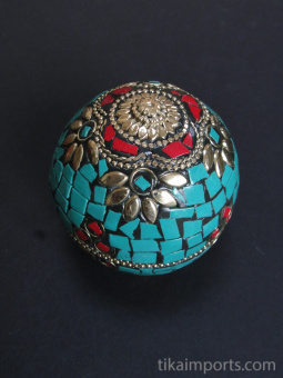 Turquoise Domed-Lid Gem Box, covered in a mosaic of complimentary gem-toned glass with brass accents