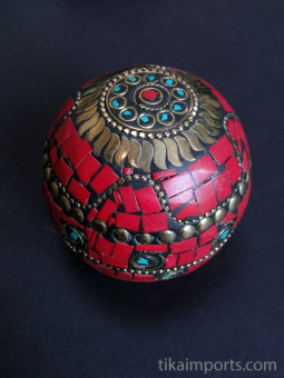 Red Domed-Lid Gem Box, covered in a mosaic of complimentary gem-toned glass with brass accents