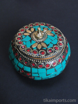 Turquoise Flat-Lid Gem Box, covered in a mosaic of complimentary gem-toned glass with brass accents