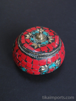 Red Flat-Lid Gem Box, covered in a mosaic of complimentary gem-toned glass with brass accents