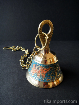 Decorative Enameled Brass Bell with chain ~ Turquoise option
