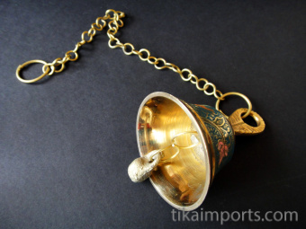 Decorative Enameled Brass Bells with chain