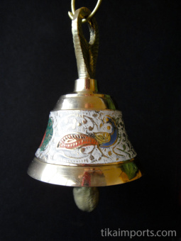 Decorative Enameled Brass Bell with chain ~ White option