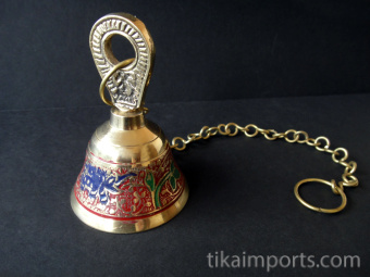 Decorative Enameled Brass Bell with chain ~ Red option