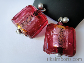 Candy cube glass earrings handmade in India