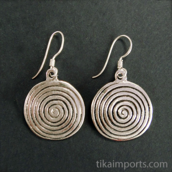 Sacred Spiral Brass Earrings in or silver-tone brass with sterling silver earwires