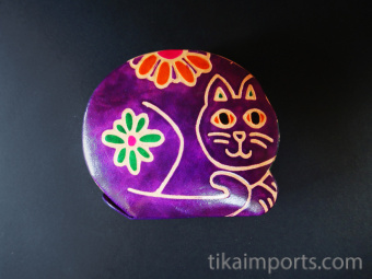 Kitty Bank handmade in India from natural, painted leather